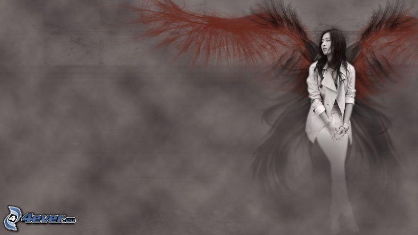 mujer, asiática, alas pintados, ángel