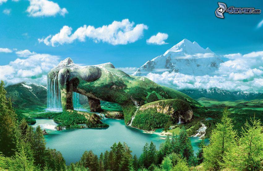 mujer, naturaleza, lago, árboles, montañas nevadas, nubes, cielo azul