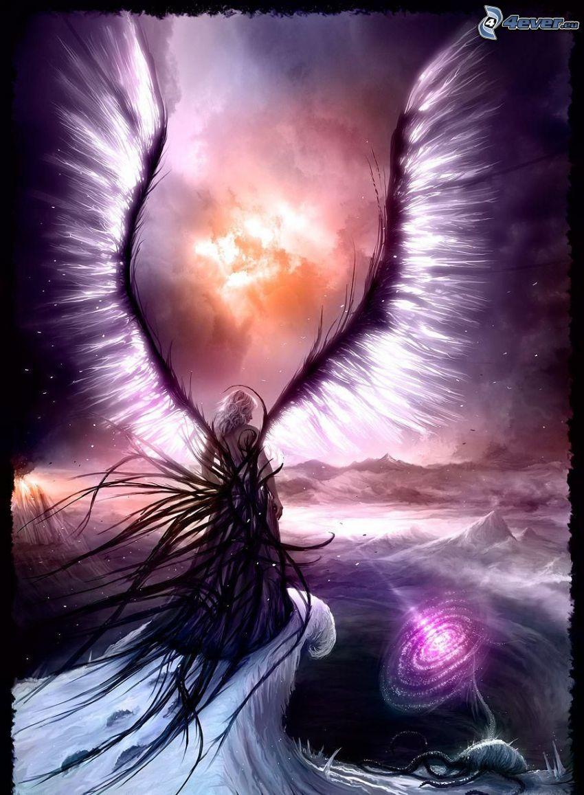 mujer con alas, caricatura de mujer, alas pintados, ola