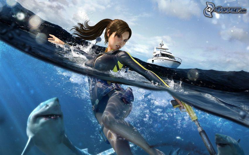 mujer en el mar, tiburón, yate