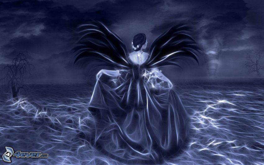 mujer fantástica, alas, fondo azul