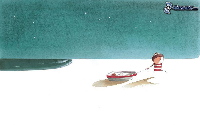 muñeco, gorro, barco, nieve