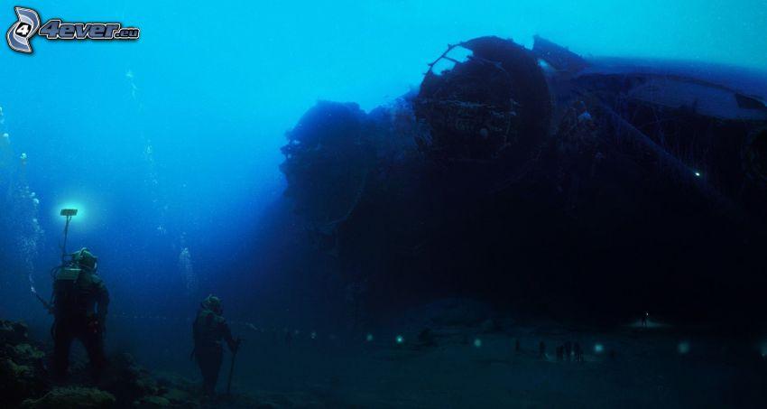 naufragio, buceadores, ciencia ficción