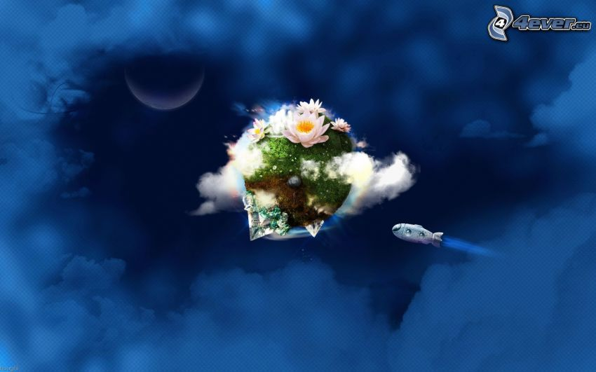 nube, lirios de agua, globo dirigible, mes