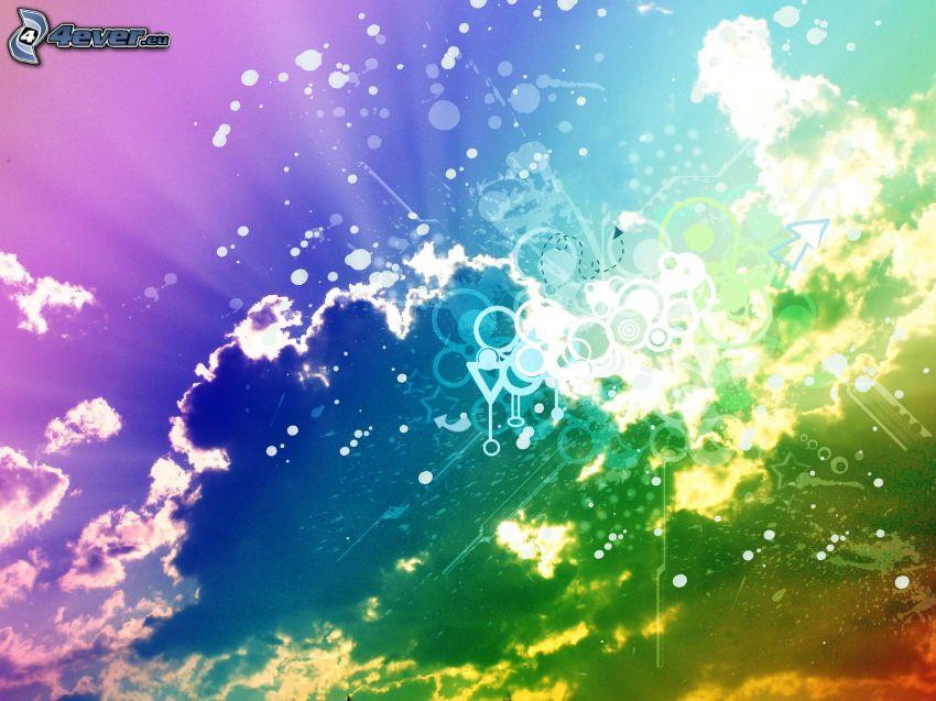 nubes, colores, circuitos de colores