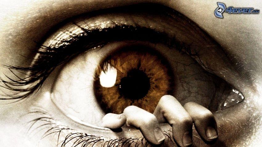 ojo, mano