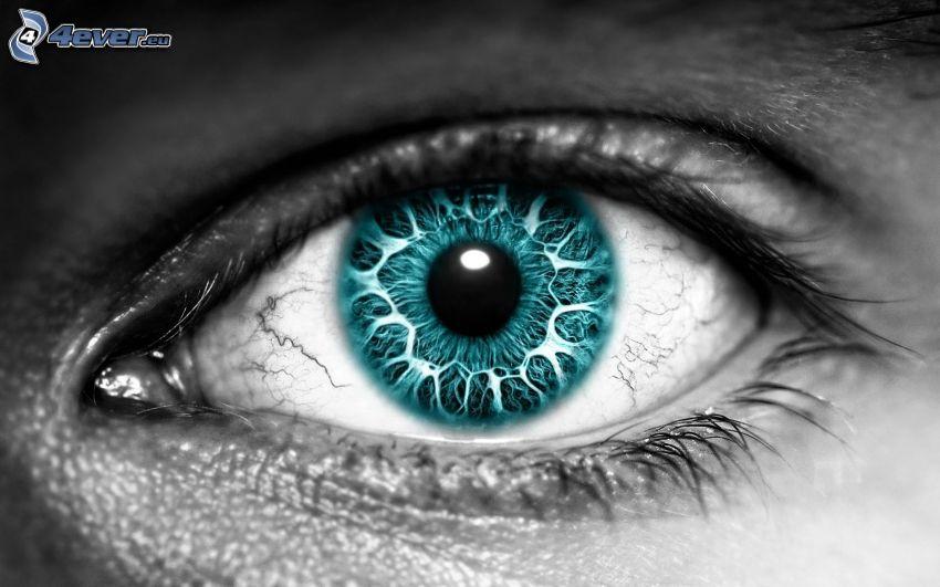 ojo de color turquesa