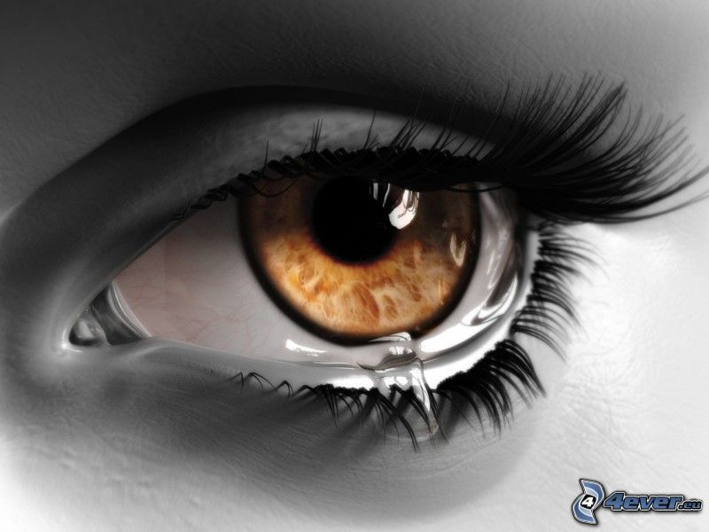 ojo triste, lágrima, pestañas