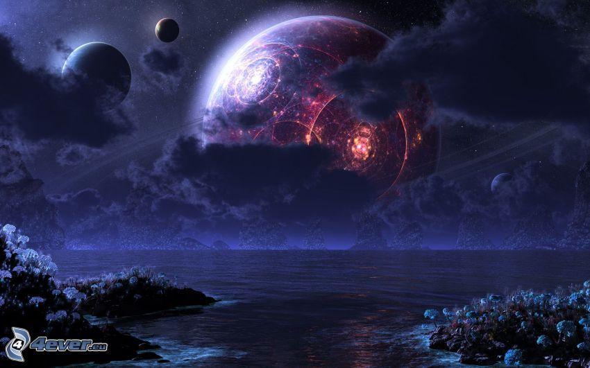 paisaje ciencia ficción, planetas, mar, nubes, noche