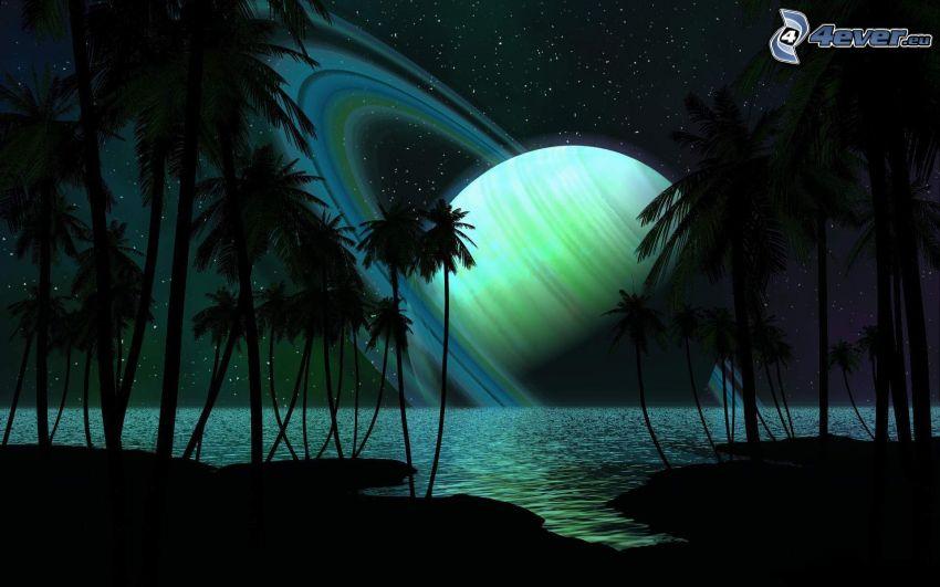 Paisaje del agua digital, ciencia ficción, planeta, costa, mar, palmera