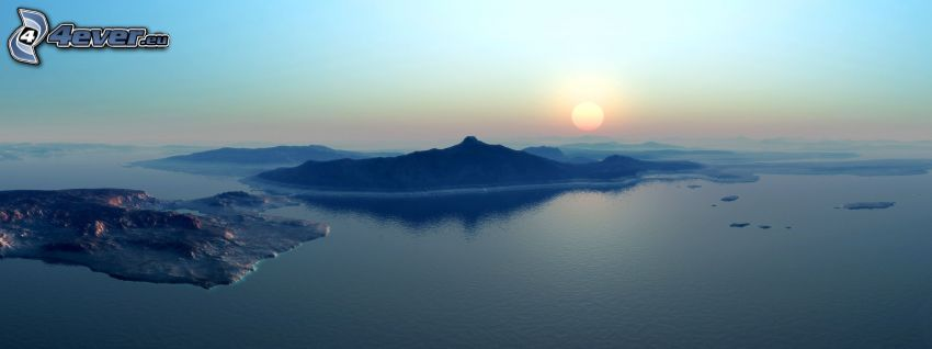 Paisaje del agua digital, puesta del sol