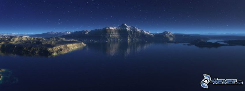 paisaje digital, lago, colina