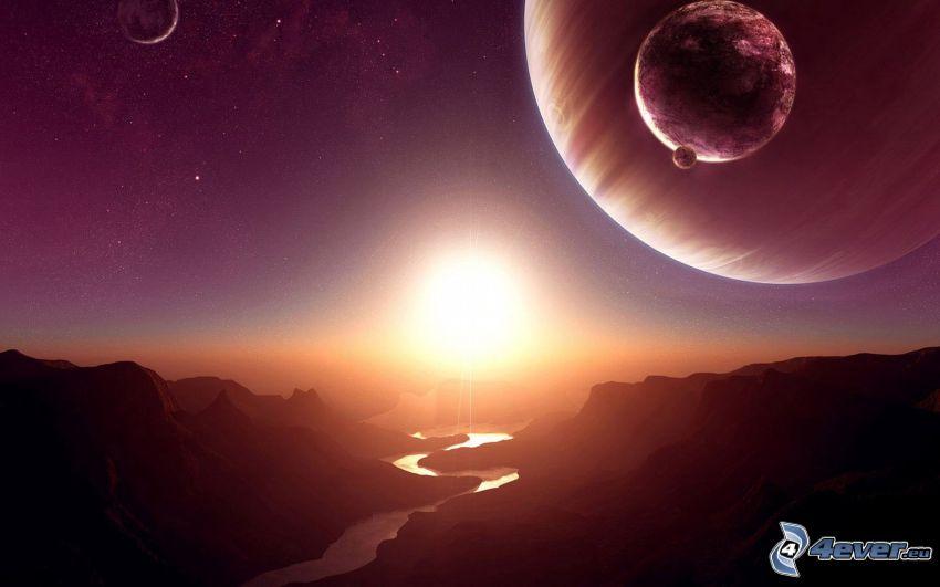 paisaje digital, valle, río, planetas, luz intensa
