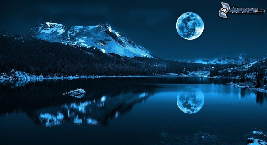 paisaje nocturno, lago, montañas, reflejo, Luna