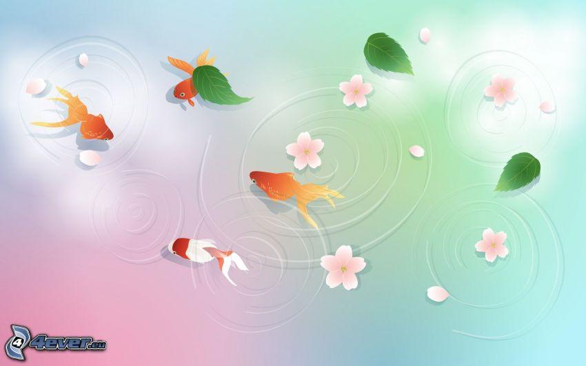 peces, hojas