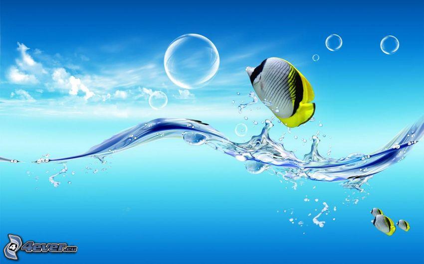 peces de colores, burbujas, mar