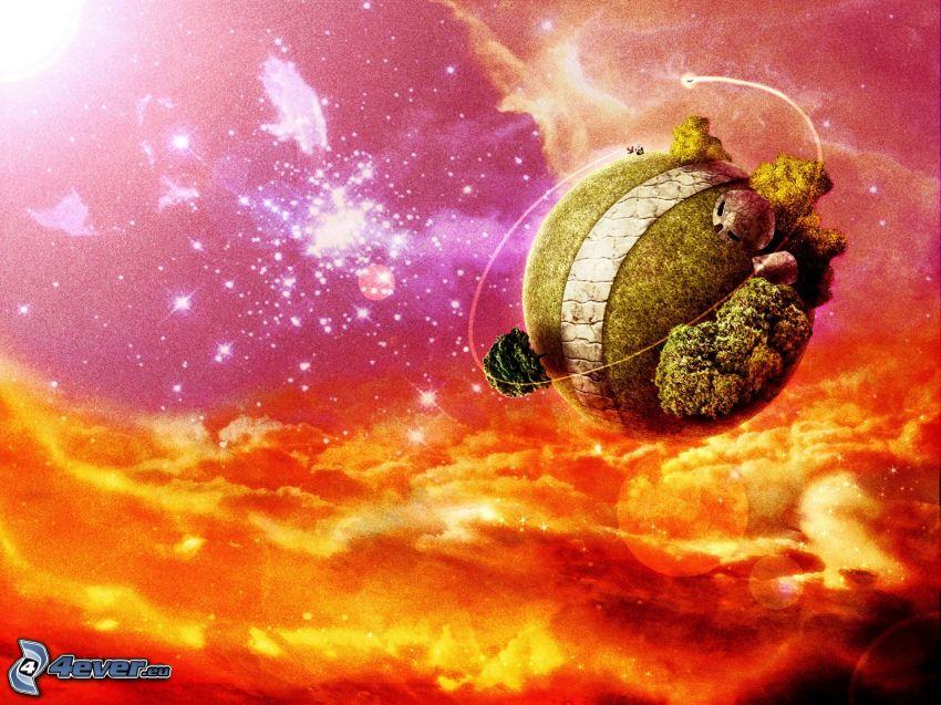 pelota de tenis, mundo, universo