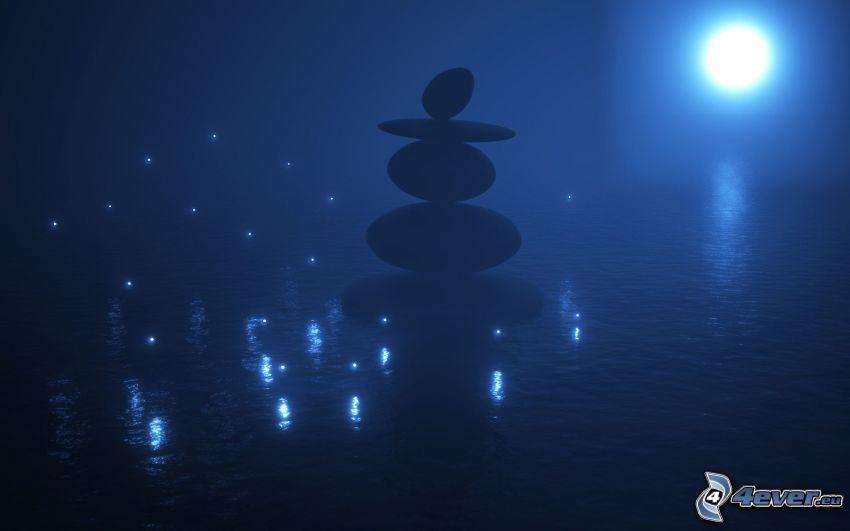 piedras, lago, sol