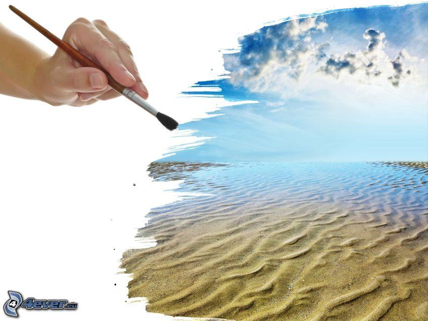 pintura, playa de arena, mar, mano, pincel