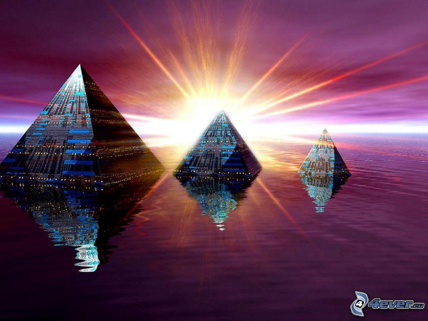 pirámide sobre agua, sol, mar