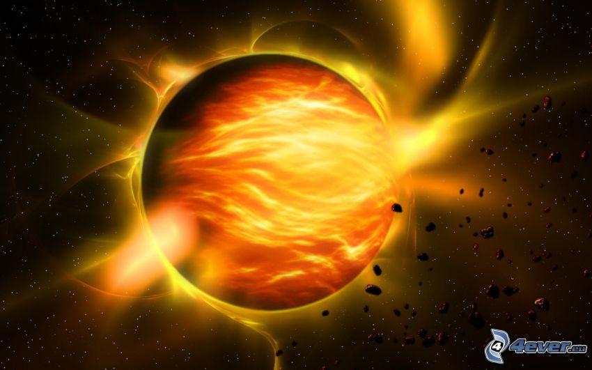 planeta rojo, luz intensa, asteroide