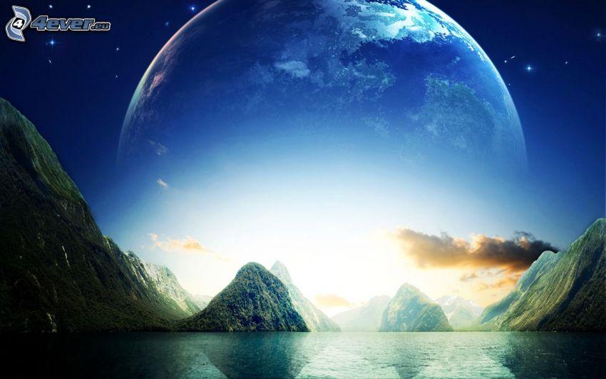 Planeta Tierra, estrellas, montañas, lago