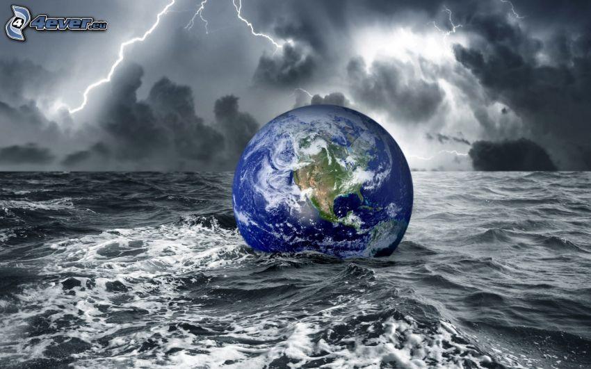 Planeta Tierra, mar tormentoso, relámpago, nubes