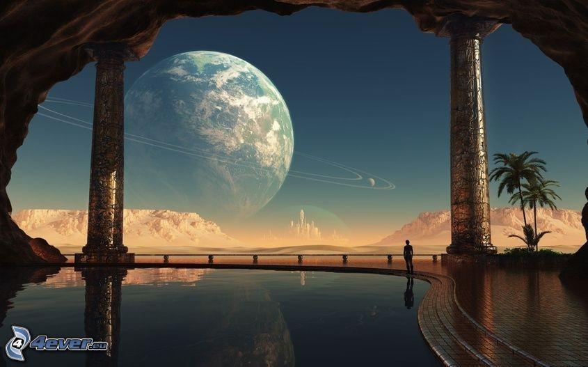 Planeta Tierra, piscina, hombre, palmera