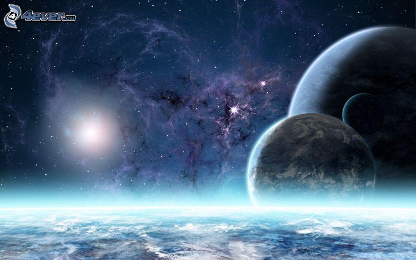 planetas, estrellas, aurora polar