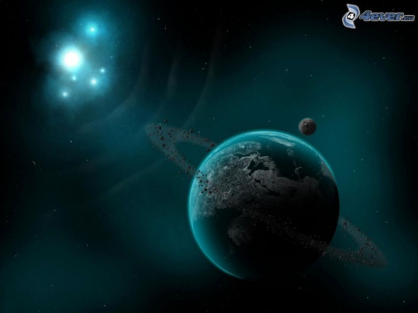 planetas, estrellas, luz intensa, universo