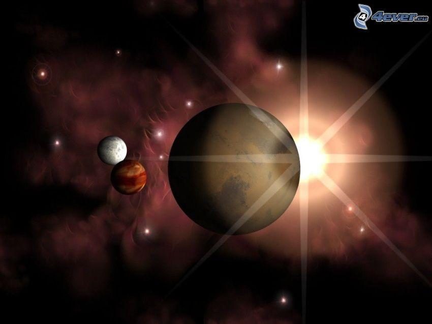 planetas, universo, estrella, rayos
