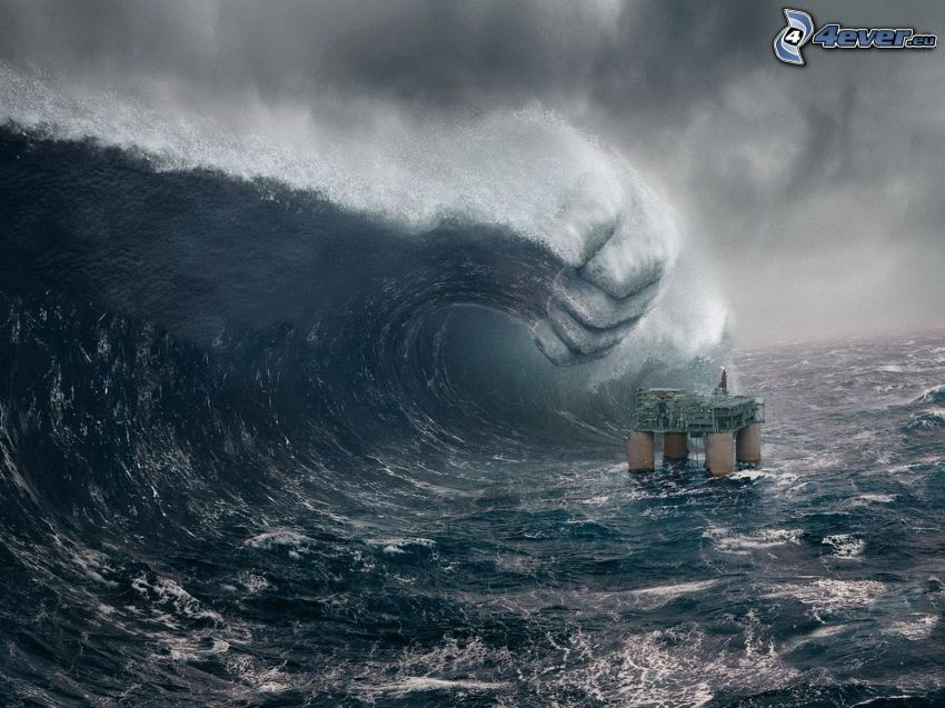 plataforma petrolera, mar tormentoso, ola, mano