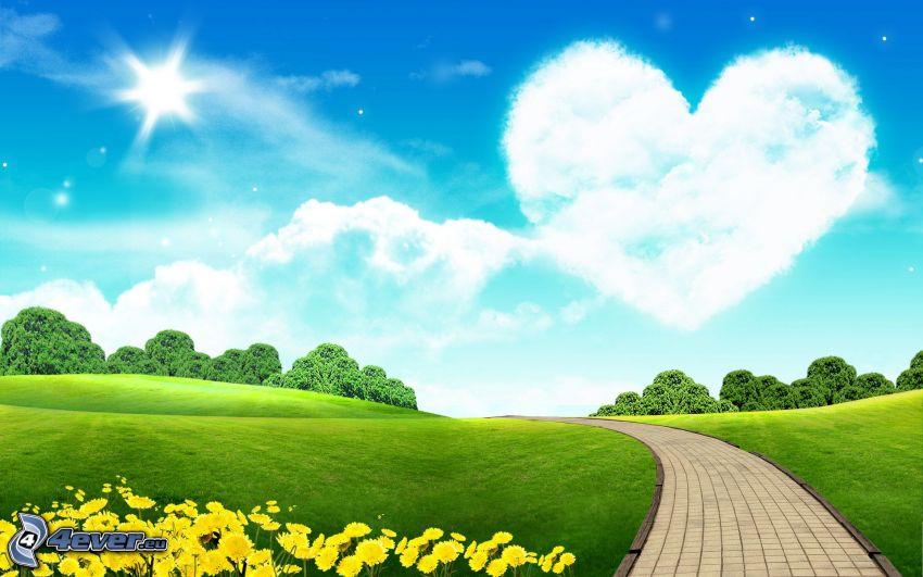 prado, acera, árboles, flores amarillas, corazón en el cielo