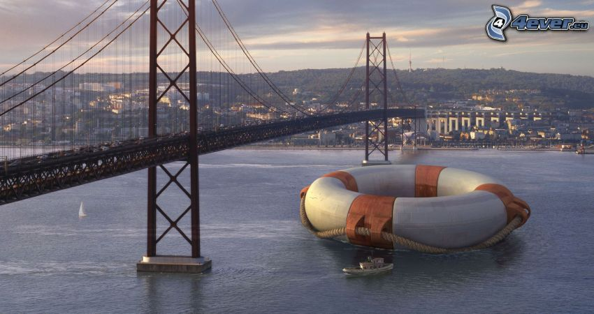 puente, rueda flotante, nave, río
