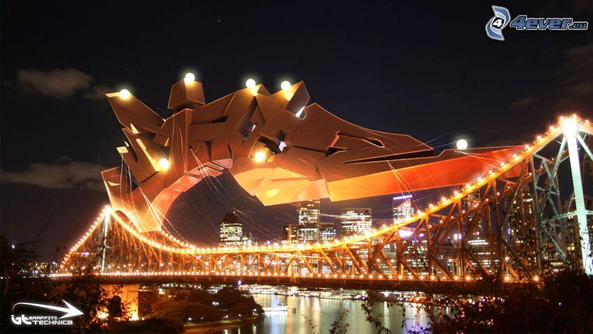 puente iluminado, grafiti, noche