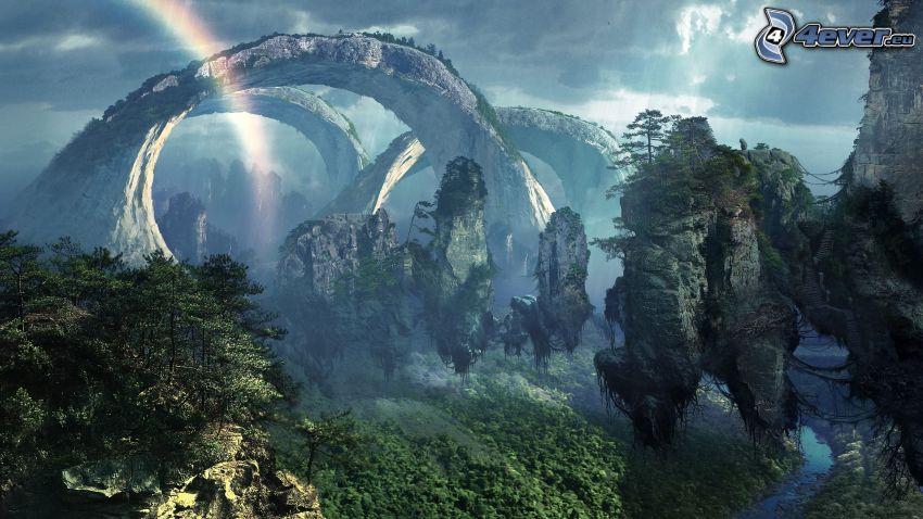 puerta de roca, montañas, Avatar, arco iris, rocas