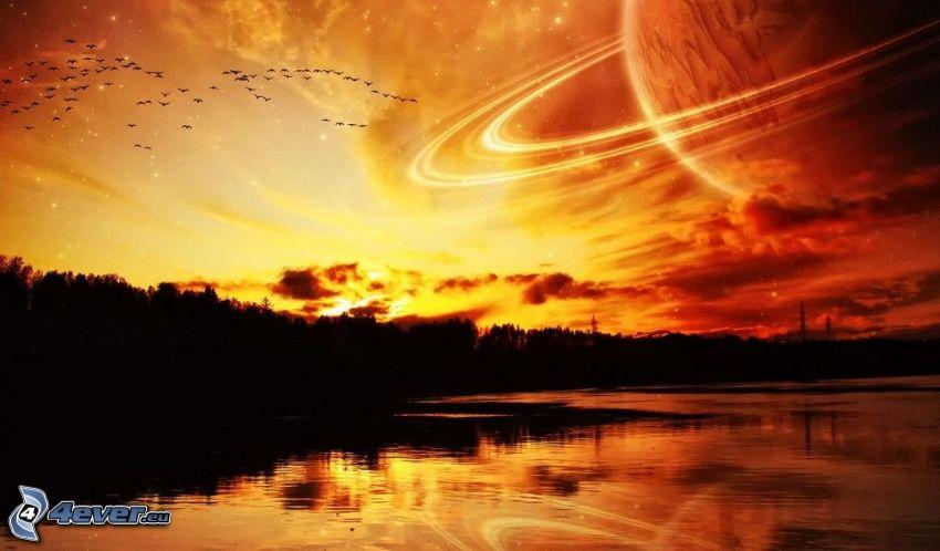 puesta de sol anaranjada, lago, planeta