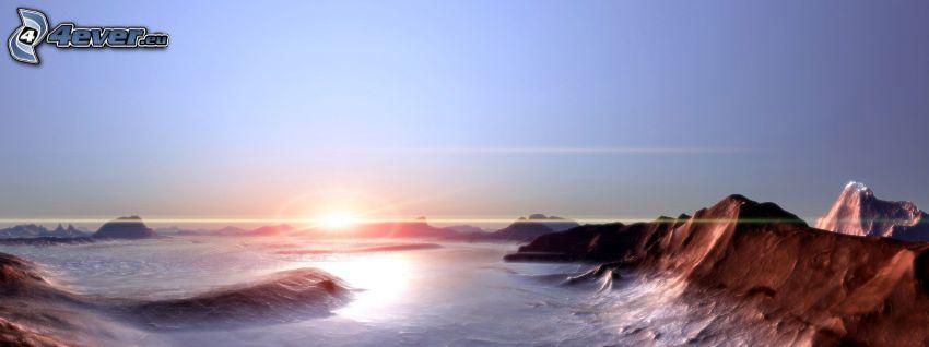 puesta de sol digital, paisaje
