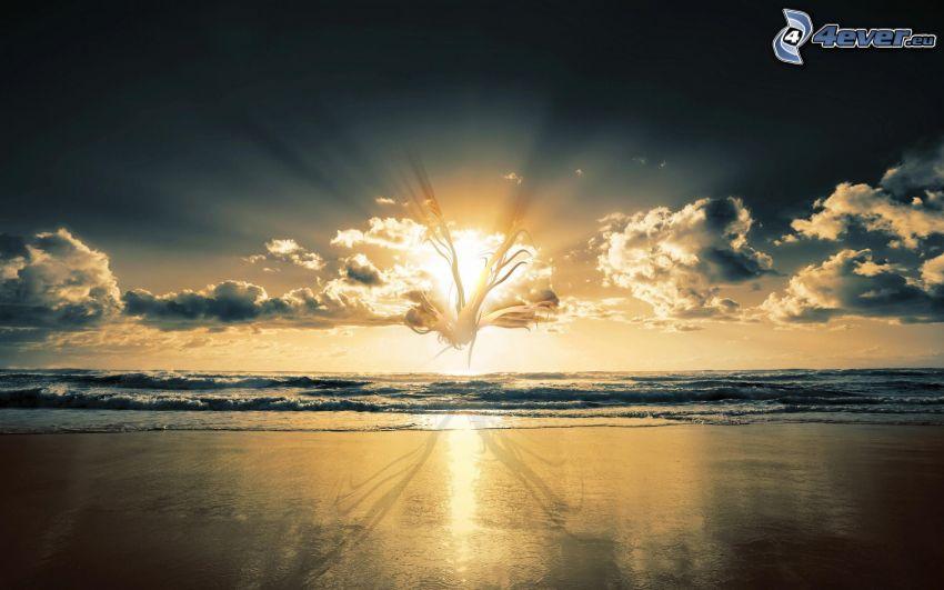 puesta de sol sobre el mar, nubes, abstracto