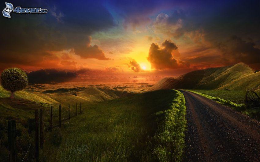 puesta de sol sobre la carretera, prado