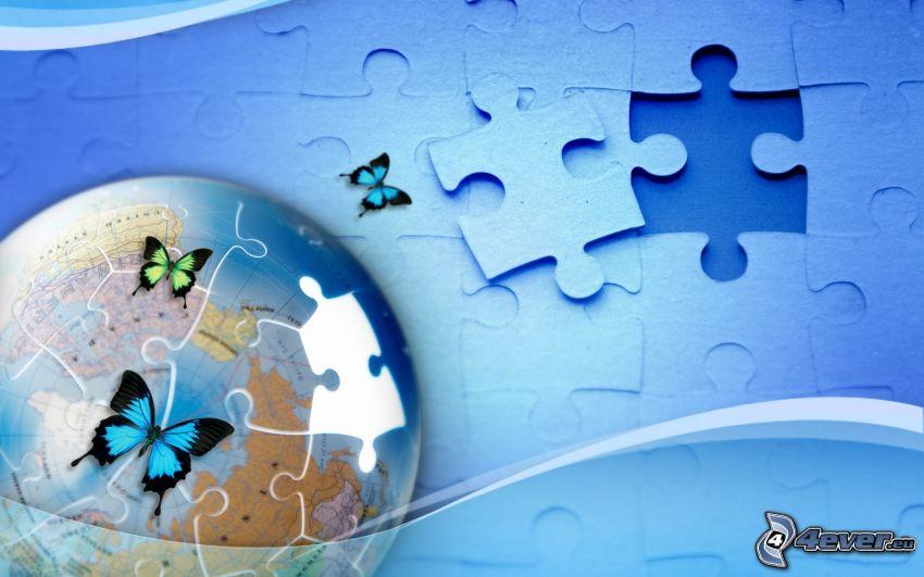 puzzle, Tierra, Mariposas