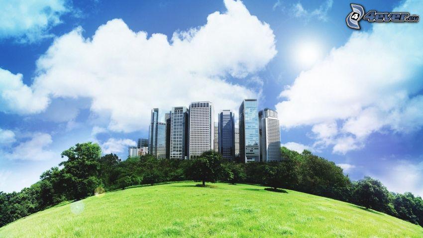 rascacielos, parque, césped, nubes