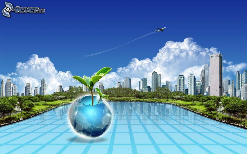 rascacielos, Tierra, nubes, avión