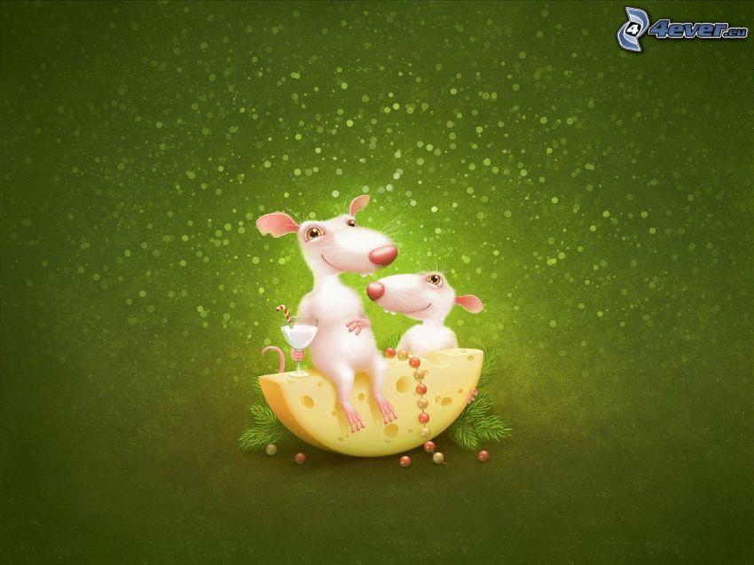ratas, queso, fondo verde