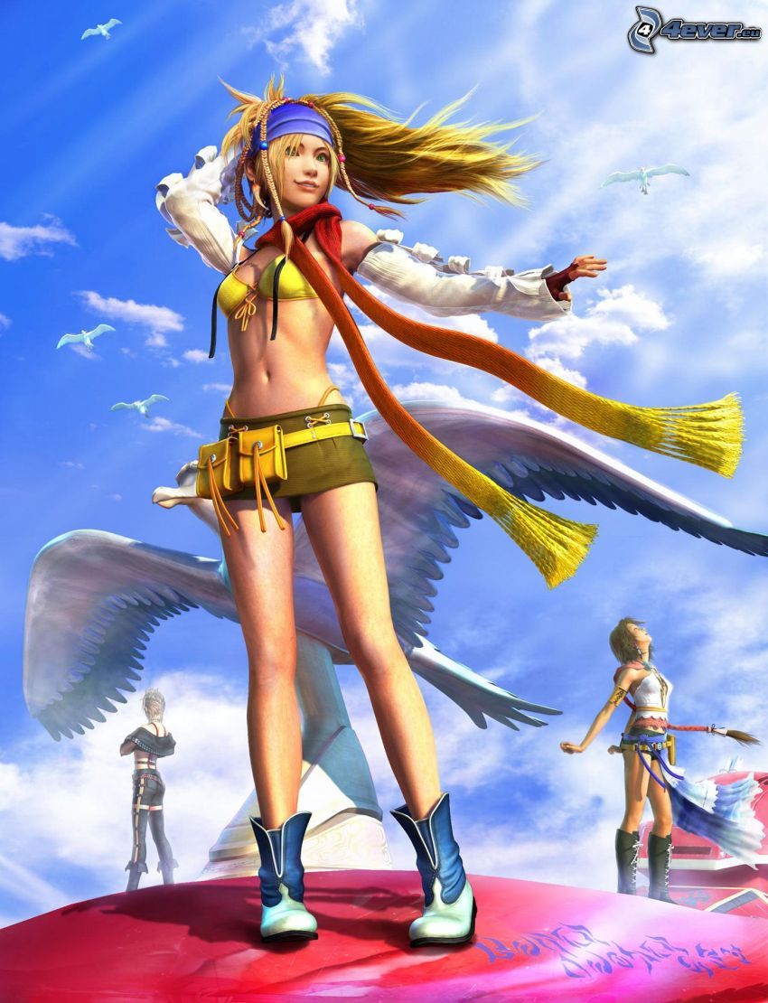 Rikku, Final Fantasy, dibujos animados de chica, minifalda, rubia, bufanda larga