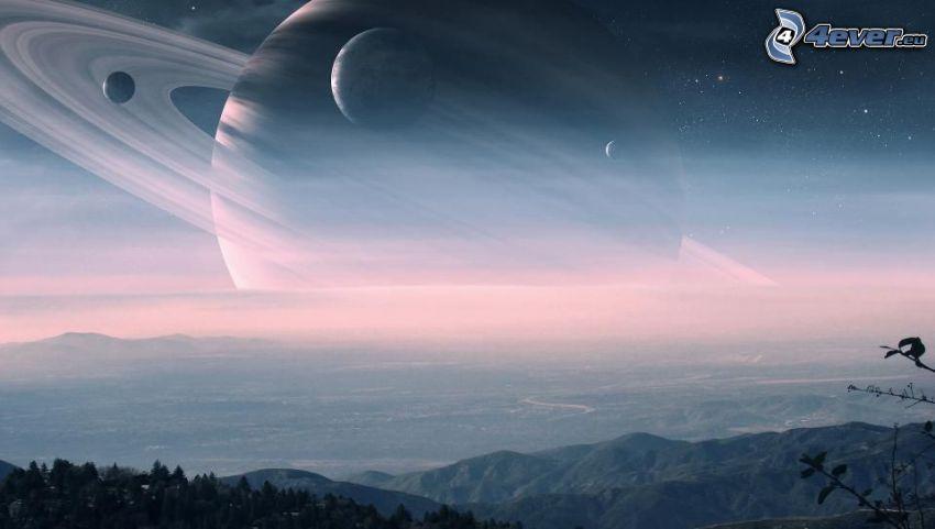Saturn, planetas, vista del paisaje
