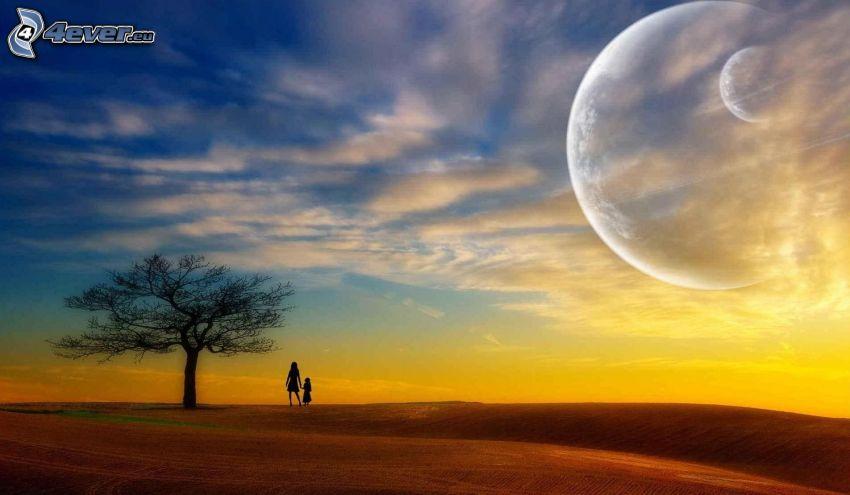 siluetas de personas, árbol solitario, planetas, cielo amarillo