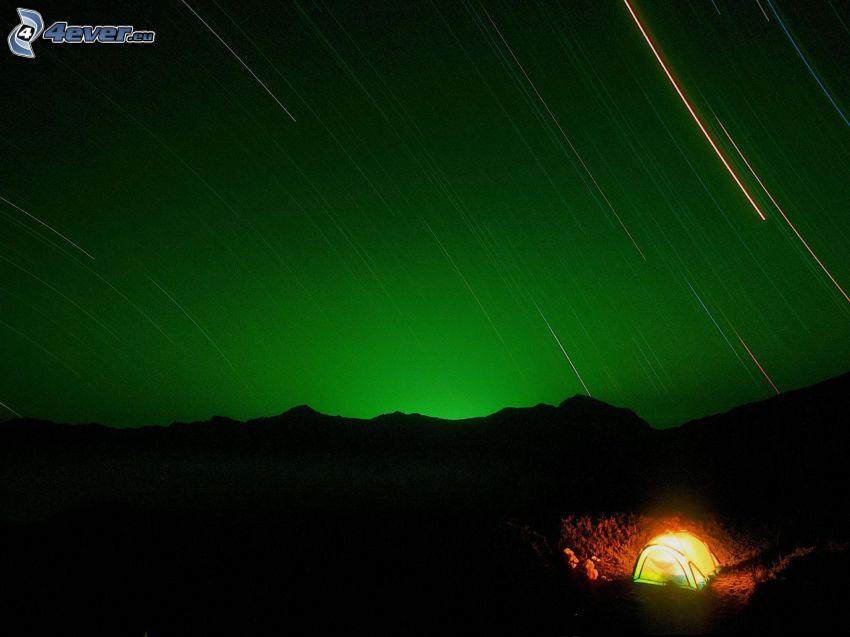 tienda de campaña, noche, rotación de la Tierra