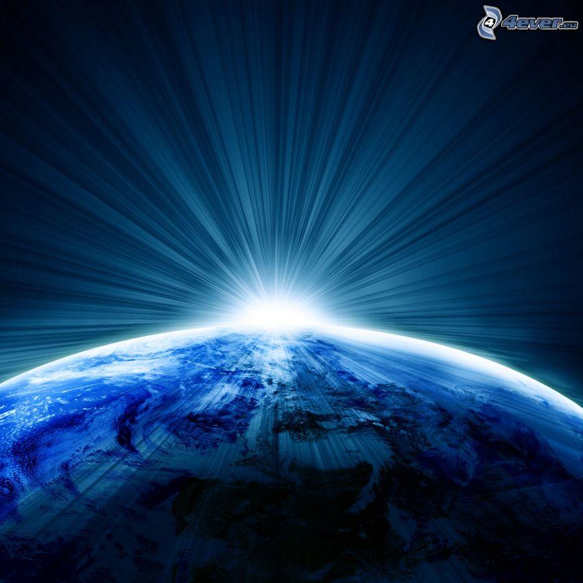 Tierra, luz intensa, planeta