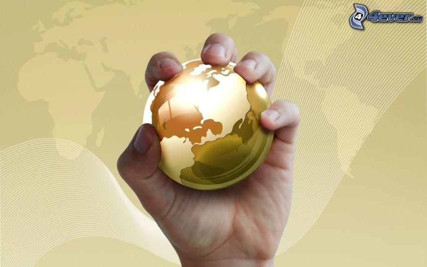 Tierra, mano, mapa del mundo